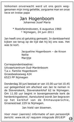 overlijdensbericht van Johannes Jozef Maria (Jan) Hogenboom