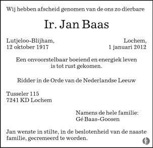 overlijdensbericht van Ir. Jan Baas