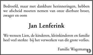 Jan Lenferink 05 02 2012 Overlijdensbericht En