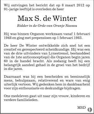advertentie van Max Salomon de Winter