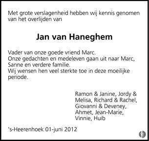 Jan Abraham van Haneghem 31-05-2012 overlijdensbericht en ...