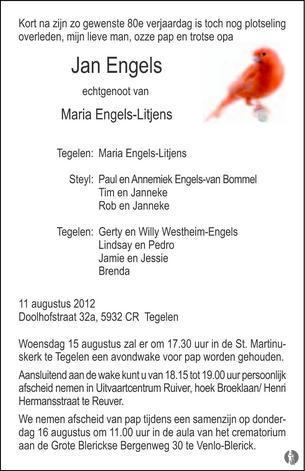 Jan Engels 11 08 2012 Overlijdensbericht En Condoleances
