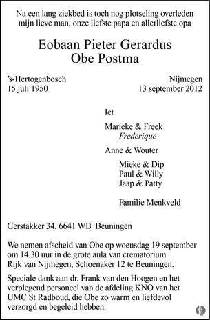 overlijdensbericht van Eobaan Pieter Gerardus (Obe) Postma