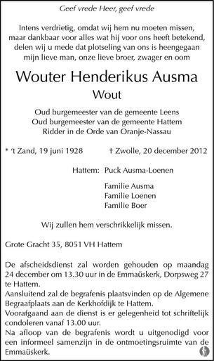 overlijdensbericht van Wouter Henderikus (Wout) Ausma