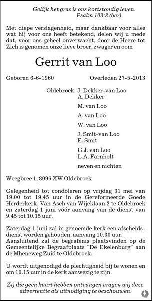 advertentie van Gerrit van Loo
