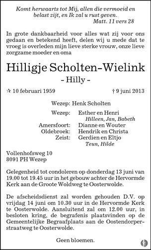 advertentie van Hilligje (Hilly) Scholten - Wielink