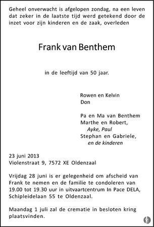 advertentie van Frank van Benthem