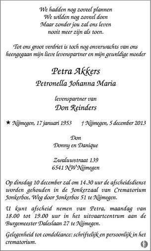 Petronella Johanna Maria (Petra) Akkers overlijdensbericht en ...