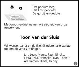 Anton Adriaan (Toon) van der Sluis ✝ 23-02-2014 overlijdensbericht ...