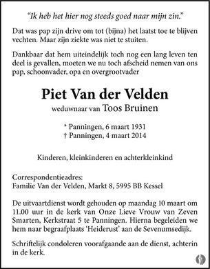 advertentie van Piet Van der Velden