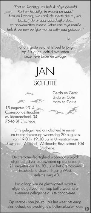 overlijdensbericht van Jan Schutte