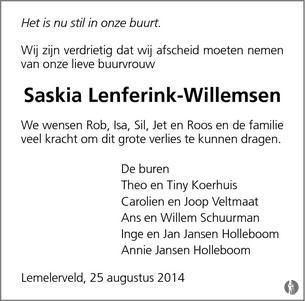 Saskia Lenferink Willemsen 25 08 2014