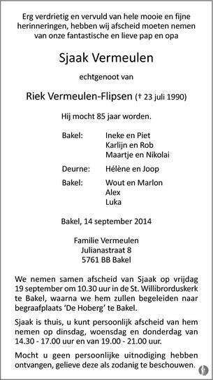 overlijdensbericht van Sjaak Vermeulen