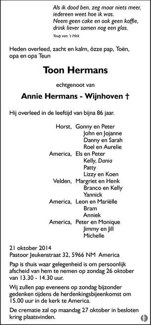 Toon Hermans De Limburger Overlijden Nieuws