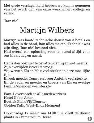overlijdensbericht van Martijn Wilbers