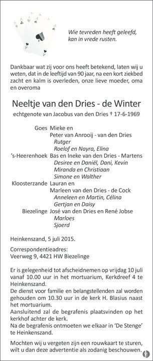 advertentie van Neeltje van den  Dries - de Winter