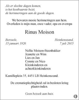 advertentie van Rinus Moison