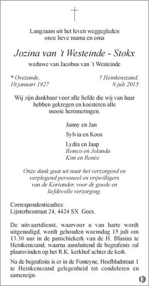 advertentie van Jozina van 't Westeinde - Stokx
