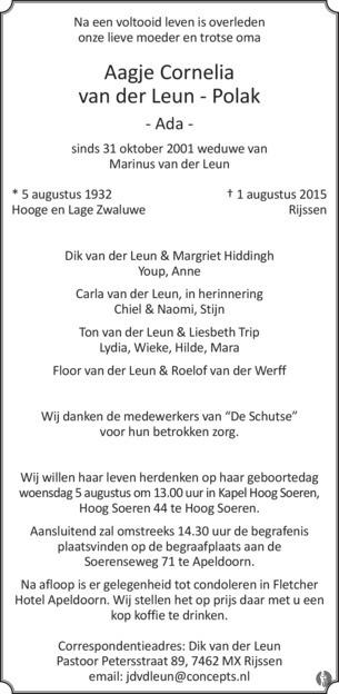 Aagje cornelia ada van der leun polak 01 08 2015 for Van der leun rijssen
