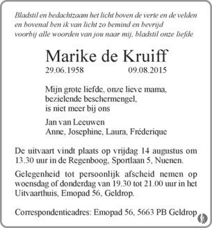 advertentie van Marike de Kruiff