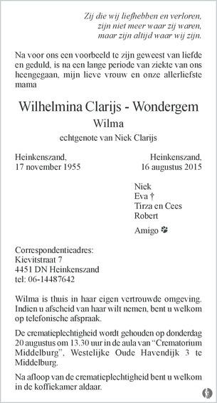 advertentie van Wilhelmina (Wilma) Clarijs - Wondergem