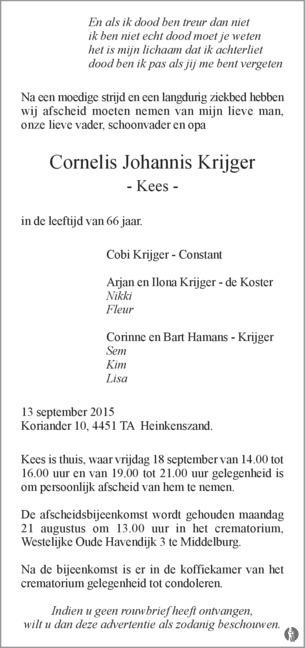 advertentie van Cornelis Johannis (Kees) Krijger