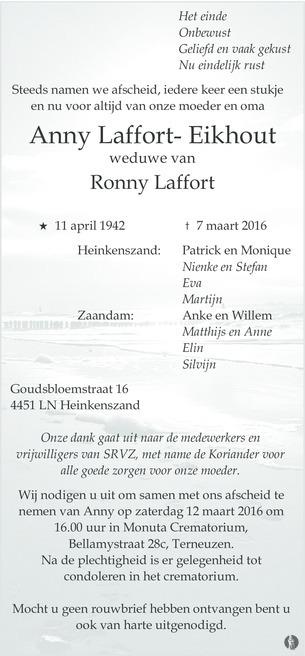 overlijdensbericht van Anny Laffort - Eikhout