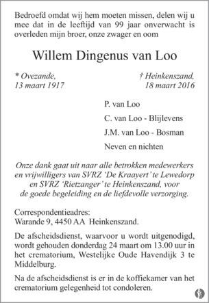 overlijdensbericht van Willem Dingenus van Loo