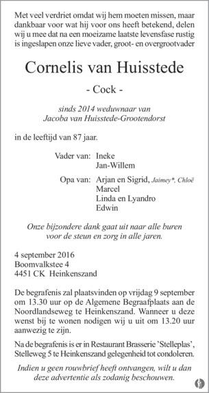 overlijdensbericht van Cornelis (Cock) van Huisstede