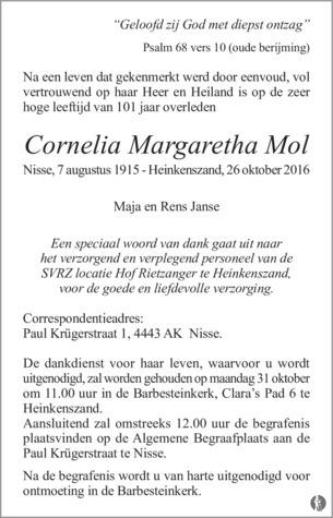 overlijdensbericht van Cornelia Margaretha Mol