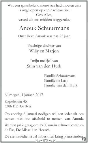 overlijdensbericht van Anouk  Schuurmans
