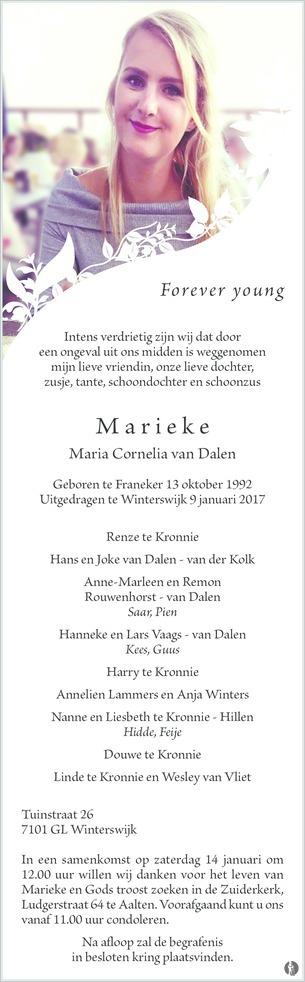 overlijdensbericht van Maria Cornelia (Marieke) van Dalen