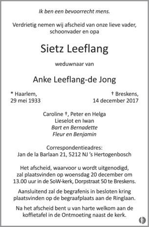 Sietz Leeflang   De Limburger   Overlijden, nieuws