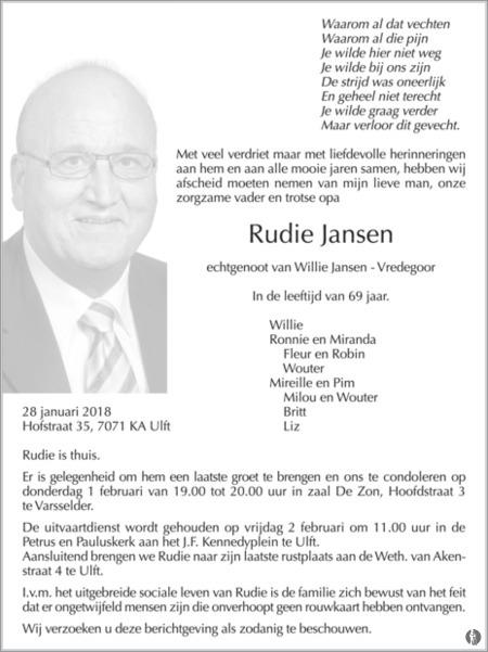 Rudie Jansen Mensenlinq Nl De Weekkrant Overlijden Nieuws