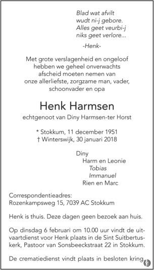 advertentie van Henk  Harmsen
