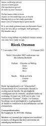 overlijdensbericht van Rienk Onsman