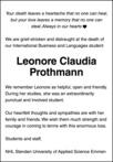 overlijdensbericht van Leonore Claudia Prothmann