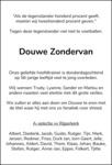 overlijdensbericht van Douwe  Zondervan