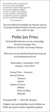 advertentie van Piebe Jan Prins
