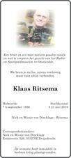 overlijdensbericht van Klaas   Ritsema
