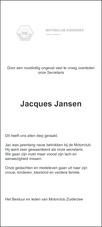 advertentie van Jacobus Henricus Maria (Jacques)  Jansen