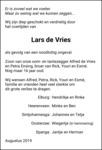 overlijdensbericht van Lars Hendry de Vries
