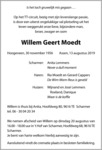 overlijdensbericht van Willem Geert Moedt