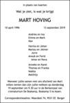 overlijdensbericht van Mart Hoving