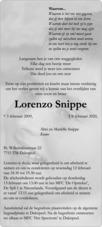 overlijdensbericht van Lorenzo Snippe