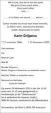 overlijdensbericht van Karin Grijpstra