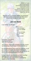 advertentie van Jan  van  Beek