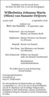 overlijdensbericht van Wilhelmina Johanna Maria (Mien) Susante - Drijvers
