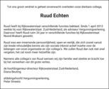 overlijdensbericht van Ruud Echten