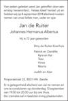 overlijdensbericht van Johannes Hermanus Albertus (Jan) de Ruiter